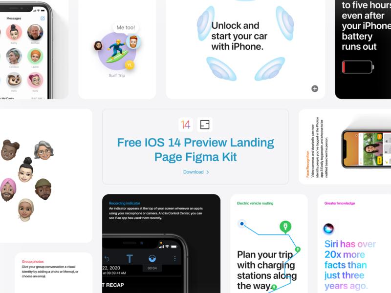 FREE IOS 14 Preview Figma Kit prorotype ios landing page kit landing page figma kit free kit ios 14