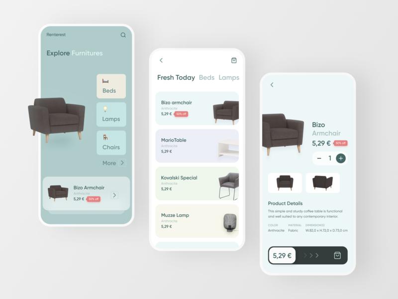 Proposed Design for Renterest (UI Revamp) minimalist clean chair design architecture mobile design ui  ux rent rental furniture