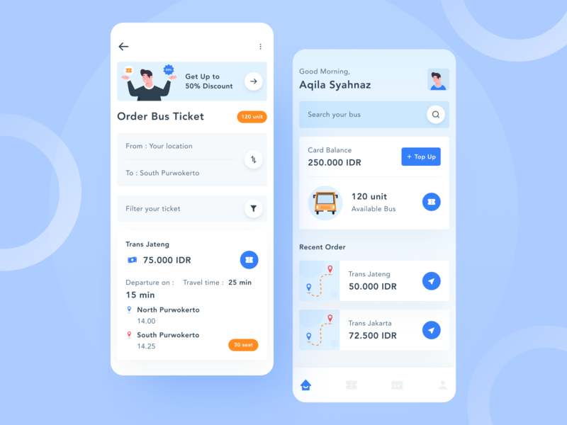 Bus Tickets Online - Application booking bus app transportation ticket design ux illustration apps app design ui