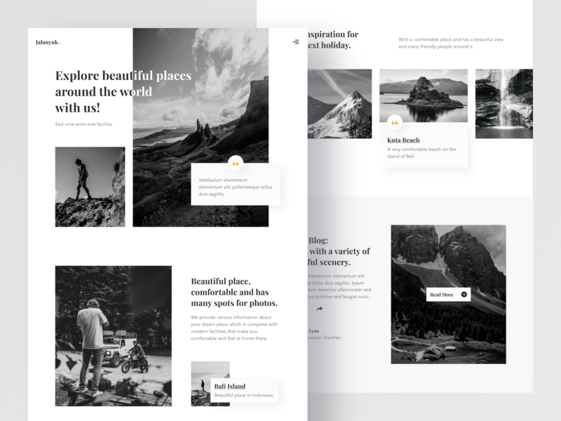 Jalankuy - Exploration Landing Page exploration scenery vacation traveling web design landing page website homepage design ux ui
