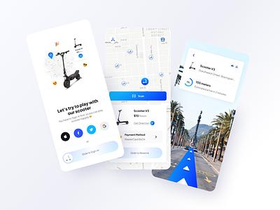 Scooter's - Mobile App Exploration 📚 clean branding street view services navigation mobile transportation scooter apps ux ui app design