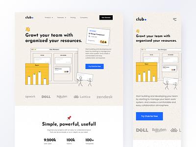 Club Landing Page - Exploration 📚 collaboration manager product task manager task management team branding logo illustration website homepage design ux ui
