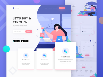 DUIDku - Landing Page clean purple dashboad icon shop web homepage website payment characer landing page ui illustration