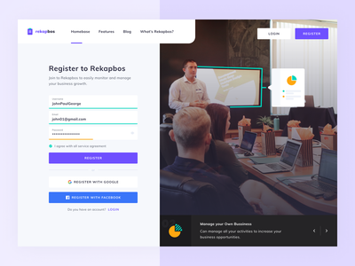Rekapbos Bussiness Management - Register Page statistics design homepage ux management system website login page web design ui management app bussiness registration page