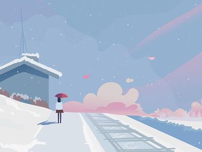 snowing drawing house cloud umbrella color inspiration winter woman snowing snow purple illustration