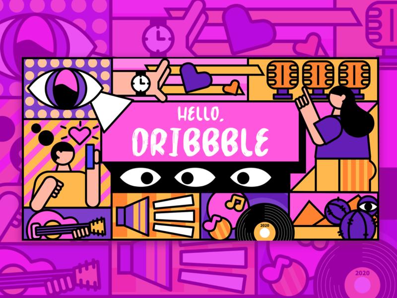 HELLO,DRIBBBLE design illustration