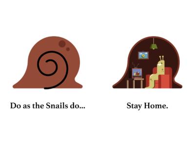 Do as the Snails do... flat simple character design quarantine illustration illo shell snail coronavirus covid-19 stay home