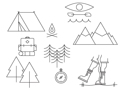 Camping icons 01