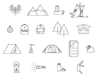 18pc Camping Icon Set