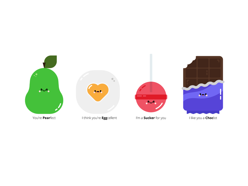 Ye Olde Valentines yay pear egg lolly chocolate character illustration cute puns cards valentines silly