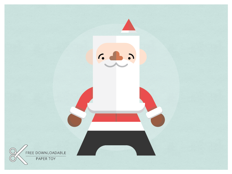 Santa Paper Toy free download paper toy craft diy color-in santa christmas xmas jolly beardy guy