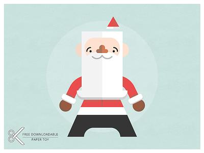 Santa Paper Toy free download paper toy craft diy color-in santa christmas xmas jolly beardy guy
