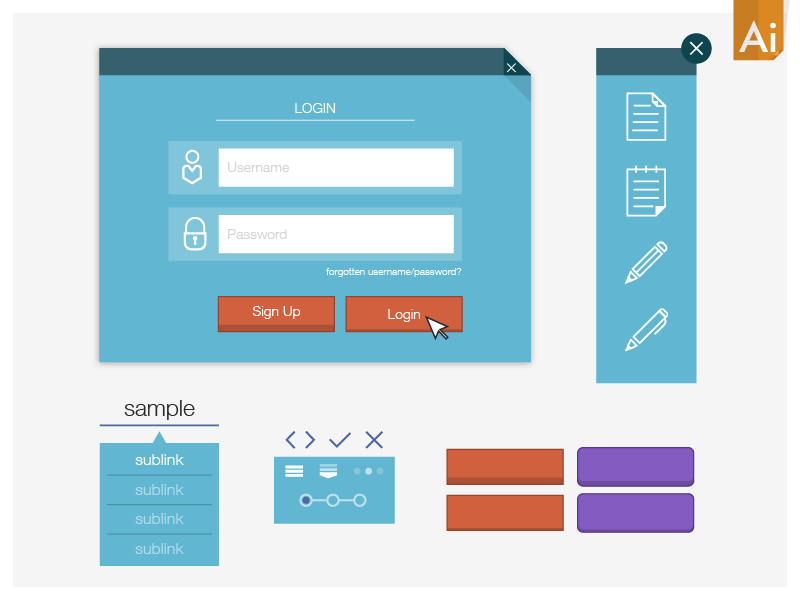 Simple Vector UI Kit_mk2 free download ui kit simple flat vector