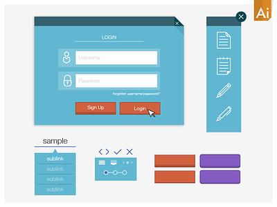 Simple Vector UI Kit_mk2 free download ui kit simple flat vector