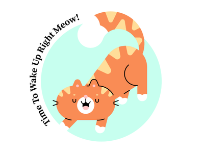 Wake up! simple cute character illustration big stretch wake up kitty cat