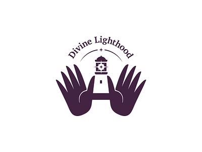 Lighthouse logo negativespace hands healing divine motif branding lighthouse logo lighthouse