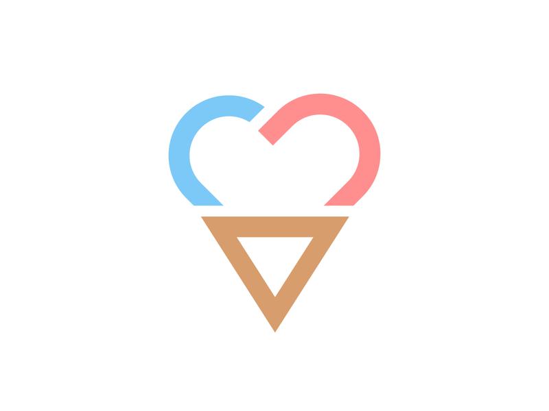 Ice Cream Love heart shapes branding logo mark ice cream logo icecream love