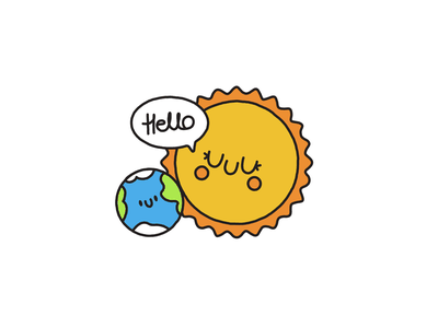 Hello World helloworld hello earth sun character cute happy