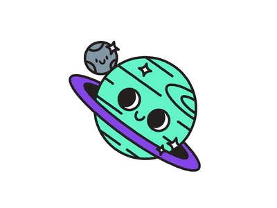 You're Outta This World happy cute illustration character buddies moon planet outta this world