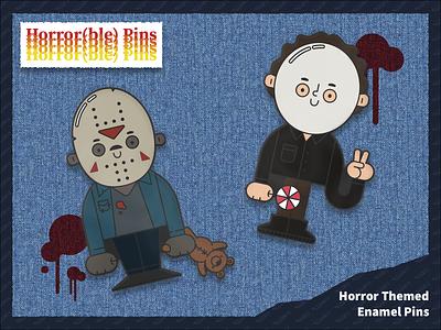 Horrifyingly Cute Pins kickstarter halloween fridaythe13th michael myers jason voorhees horror movie enamelpins pins horror