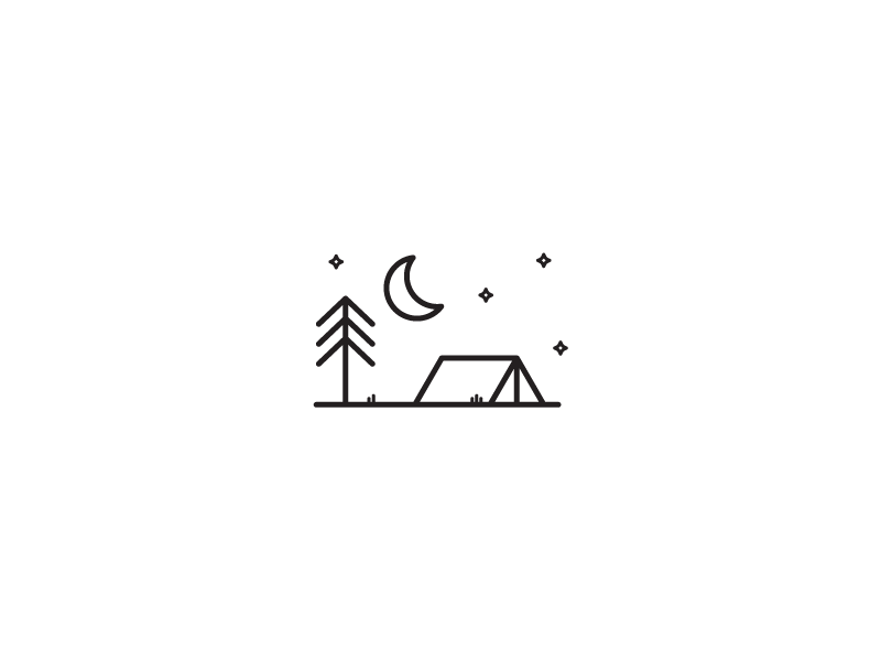 Camping simple icon lines camping tent tree