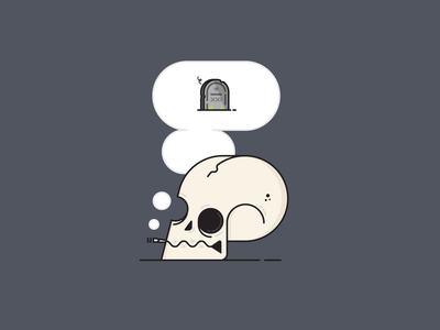 Smokey Thoughts smoking smoke mindfullness headspace thinking tombstone grave illustration simple death skull