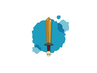 The Sword sharp pointy thing illo illustration skull sword
