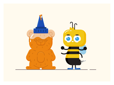 Bumbly Butt illustration design simple character honey bear bumble bee bee stinger