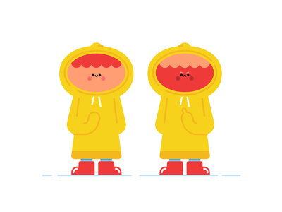 Rain kid toy design character red boots mad angry happy birdie middle finger kid raincoat mac rain