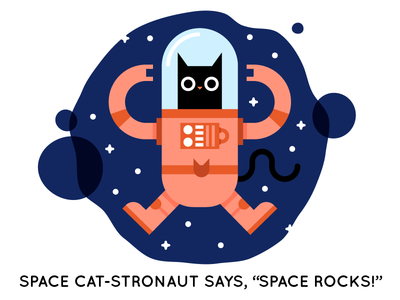 Cat-stronaut rock on childrens book storybook astronaut space character kitty cat