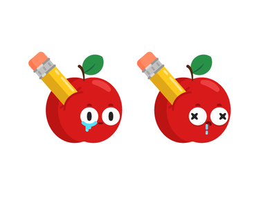 ApplePencil cute ouch deaded tears character design illustration stabbed poked pencil apple