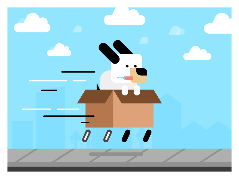 Dog In A Box whoosh fast illustration character box dog racer