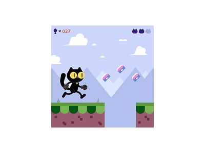 Spike Cat Run! level runner character game art tuna kitty cat
