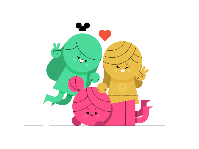 Group Shot cute love character design colourful portrait wife