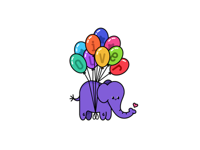 Elephants CAN fly custom type type lettering character design flying balloons illustration elephant