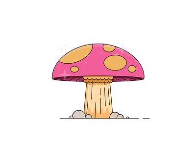 Shroomy pink illustration illo fantasy shroom for improvement mushrooms mushroom