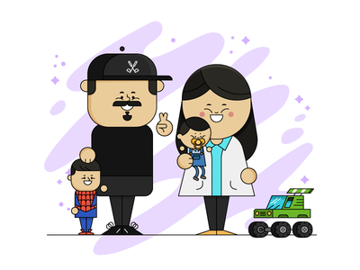 The Burkitts Portrait parents kid chat monster truck illustration illo character design character family portrait