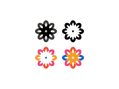 Flower Power petal sun branding logo monogram colorful icon flower