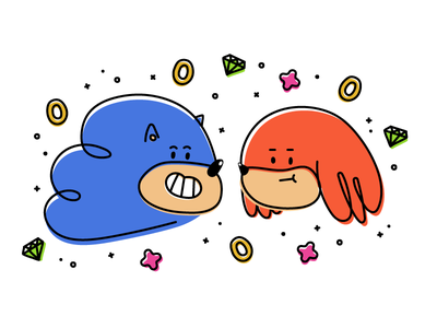 Happy 25th Sonic & Knuckles character design illustration illo anniversary fan art knuckles sonic the hedgehog sonic