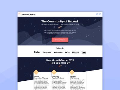 GrowthComet - Website unbounce website web design logo comet growthcomet branding brand identity brand