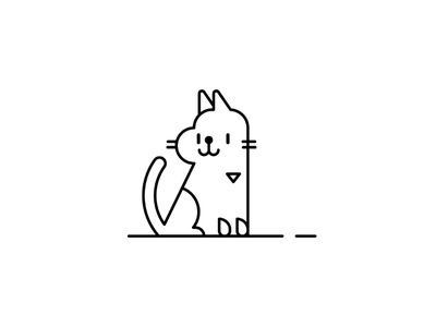 Cat What's That character simple line drawing lines illustration illo kitty meow cat