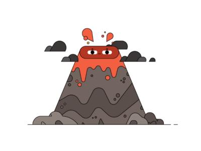 Explosive nature simple cute erupt volcano character design