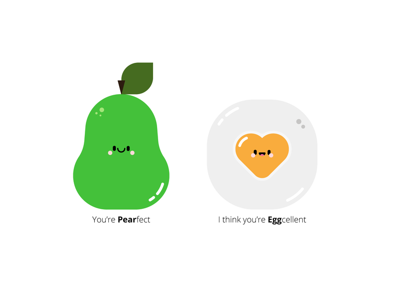 Valentines yay simple character cute heart eggcellent pearfect pear pun egg valentines day valentines yay