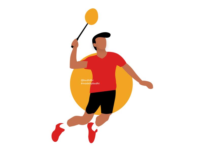Badminton Illustration sport badminton icon vector branding design illustrations illustrator madebybudhi adobe xd illustration