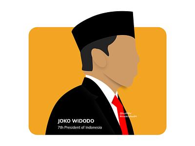Jokowi : 7th President of Indonesia flat illustration flat design vector design madebybudhi joko widodo presiden indonesia president of indonesia indonesia jokowi illustration art illustrations illustrator illustration adobe xd