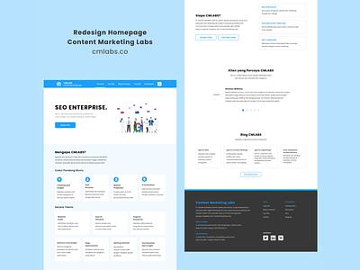 Redesign Homepage - Content Marketing Labs content marketing labs cmlabs redesign homepage branding user interface ui design madebybudhi blue landingpage homepage figma
