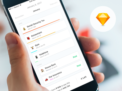 Debts App (concept) free sketch freebie app design free cards iphone payments ios app download sketch file ui
