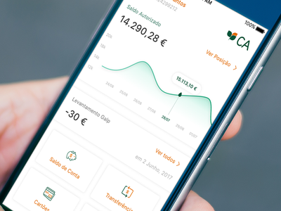 Crédito Agricola Bank App Dashboard ( iOS concept ) mobile ios graph credito agricola brank app