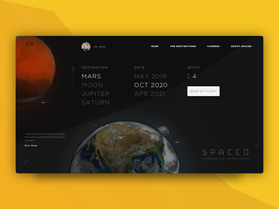 Spaced Concept - Landing travel transiton ux ui spacedchallenge spaced space sci-fi booking