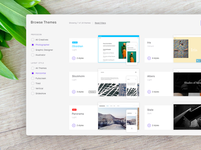 Theme Selection - Format theme cards ux ui format themes